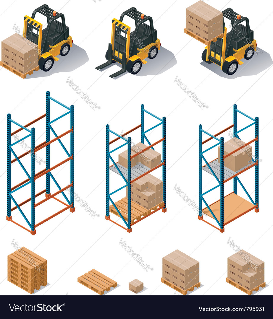 Warehouse equipment icon set vector