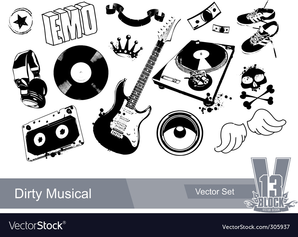 Music grunge elements vector