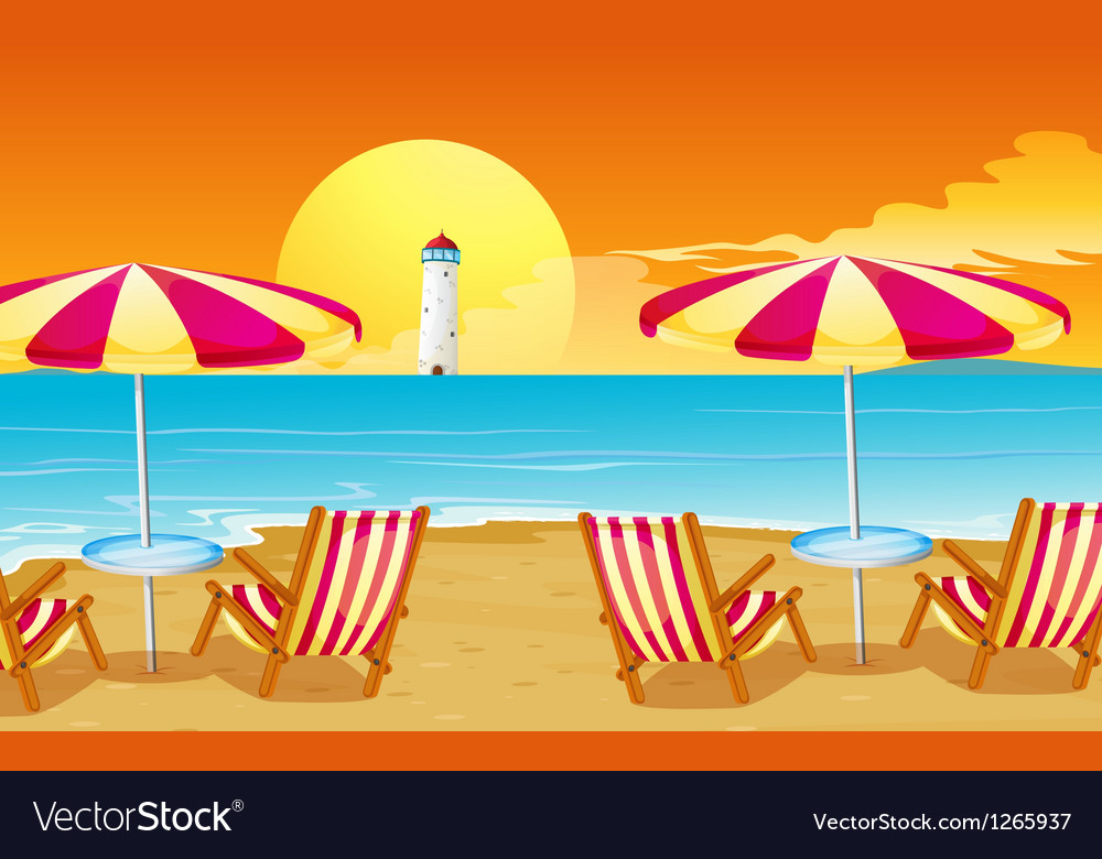 Two umbrellas and four chairs at the beach vector