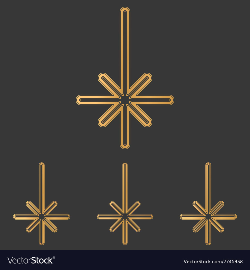 Bronze line compass logo design set