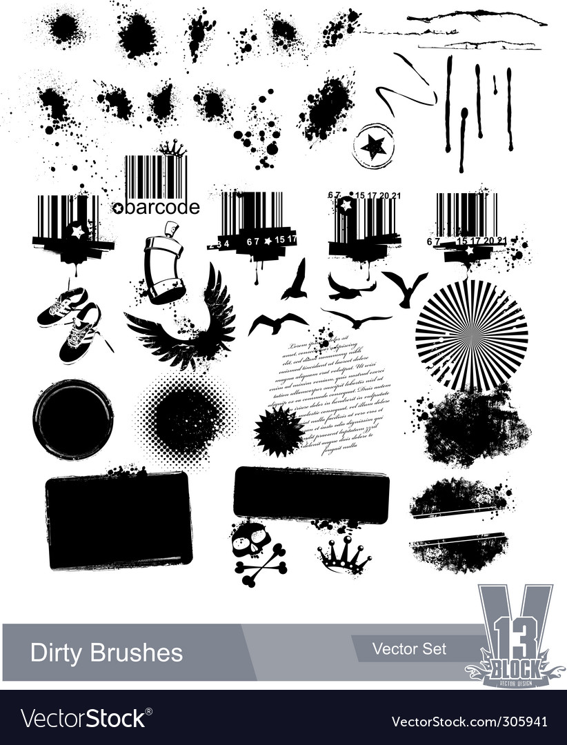 Set of dirty grunge elements vector