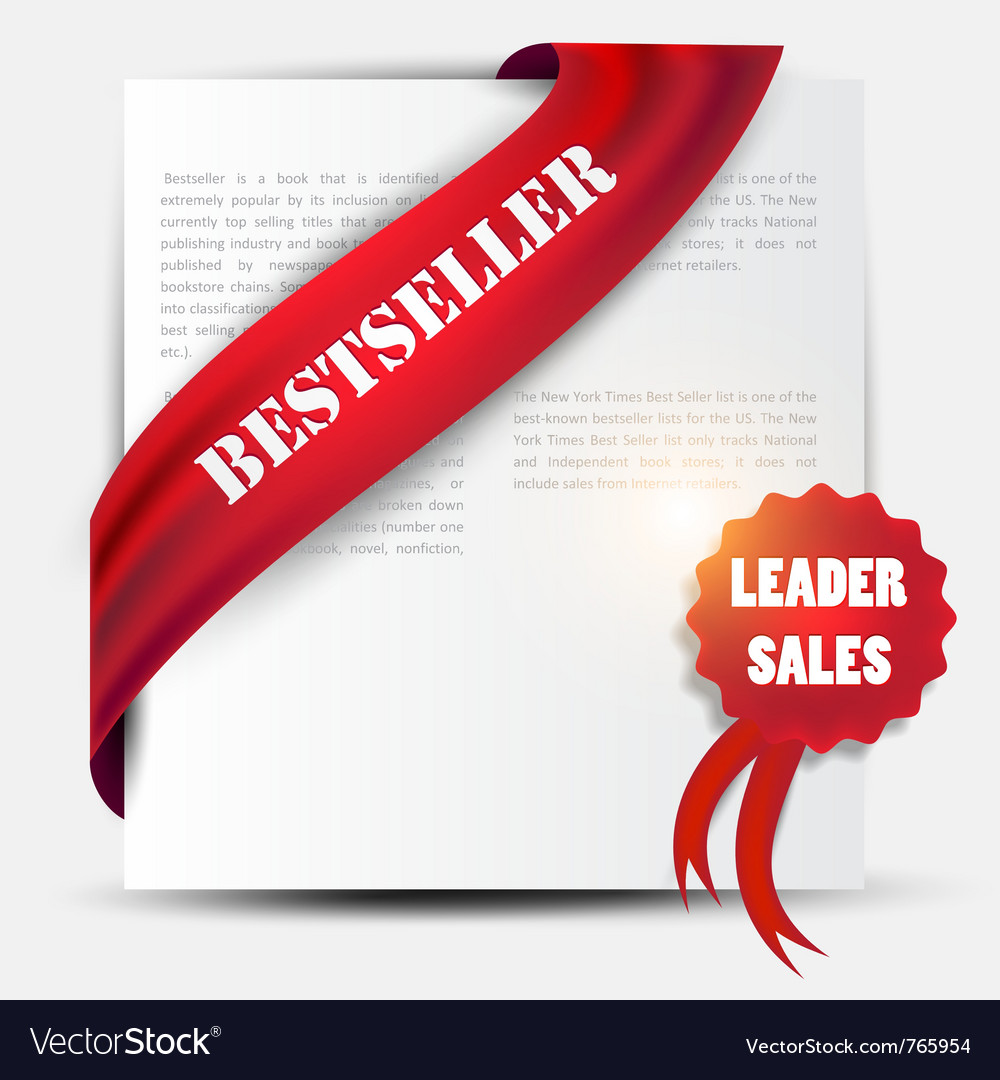Bestseller red banner and label set vector