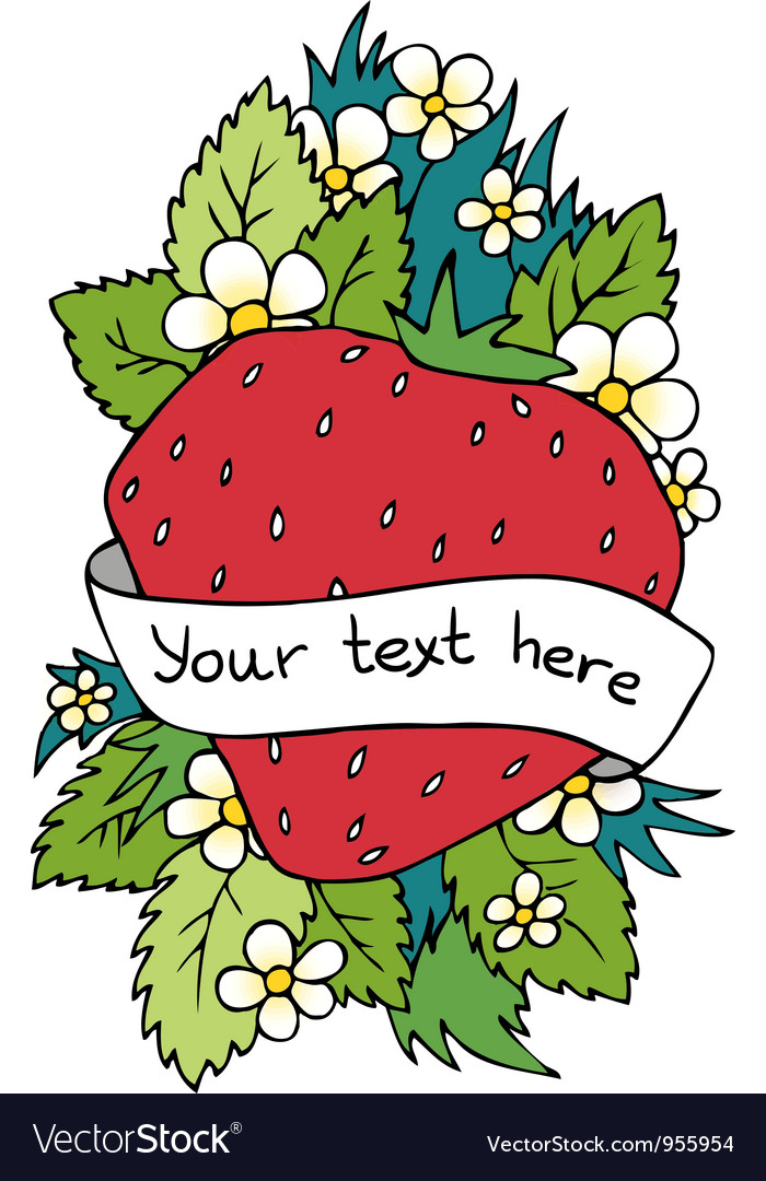 Strawberry heart background with place for text vector