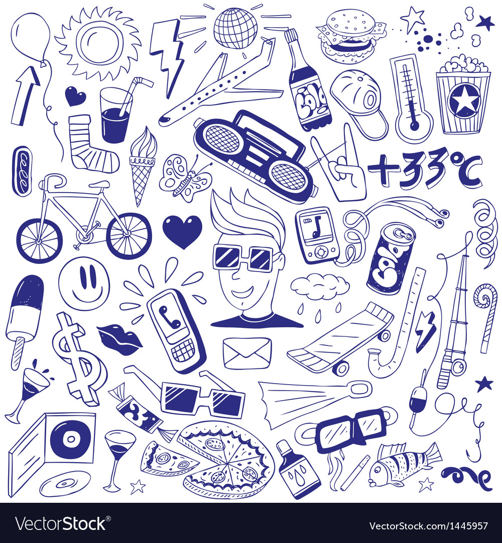 Summer  doodles collection vector