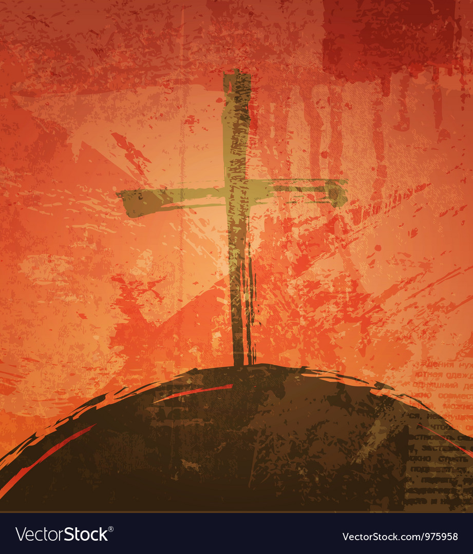 Cross on the grunge background the biblical vector