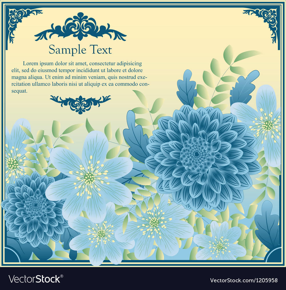 Floral greeting card in retro style vector