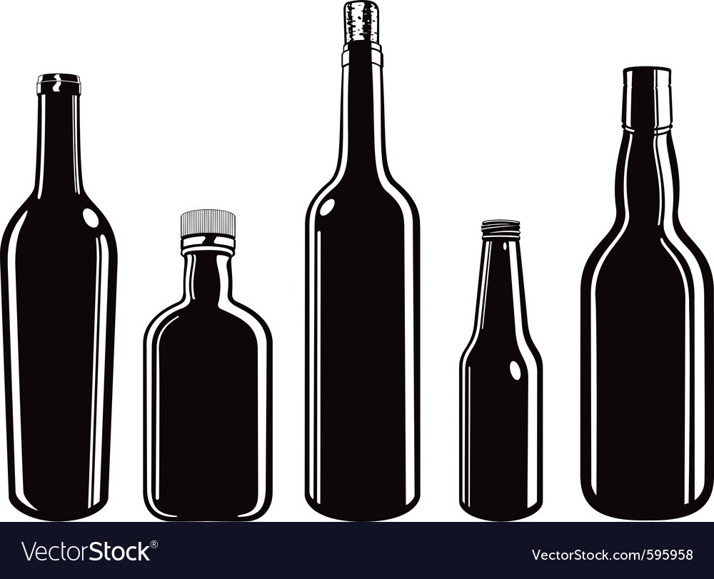 Glass bottles vector