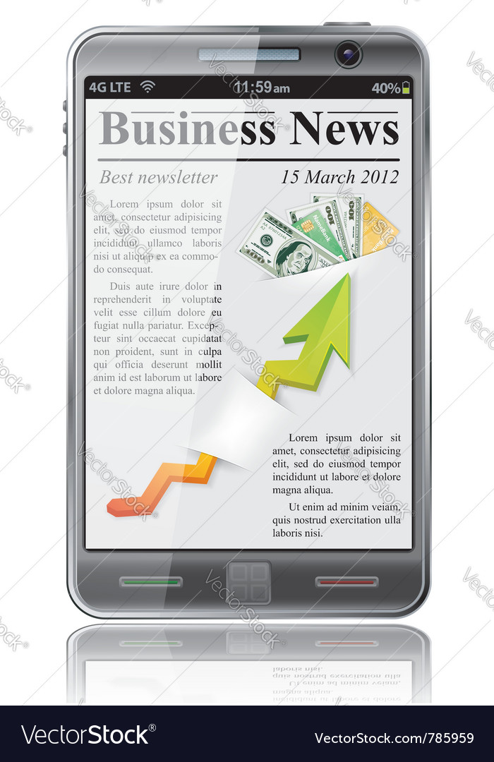 Business news on smart phone vector