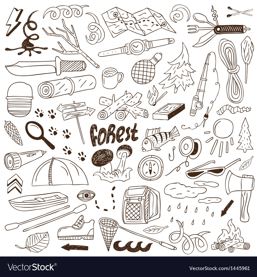 Camping  doodles collection vector