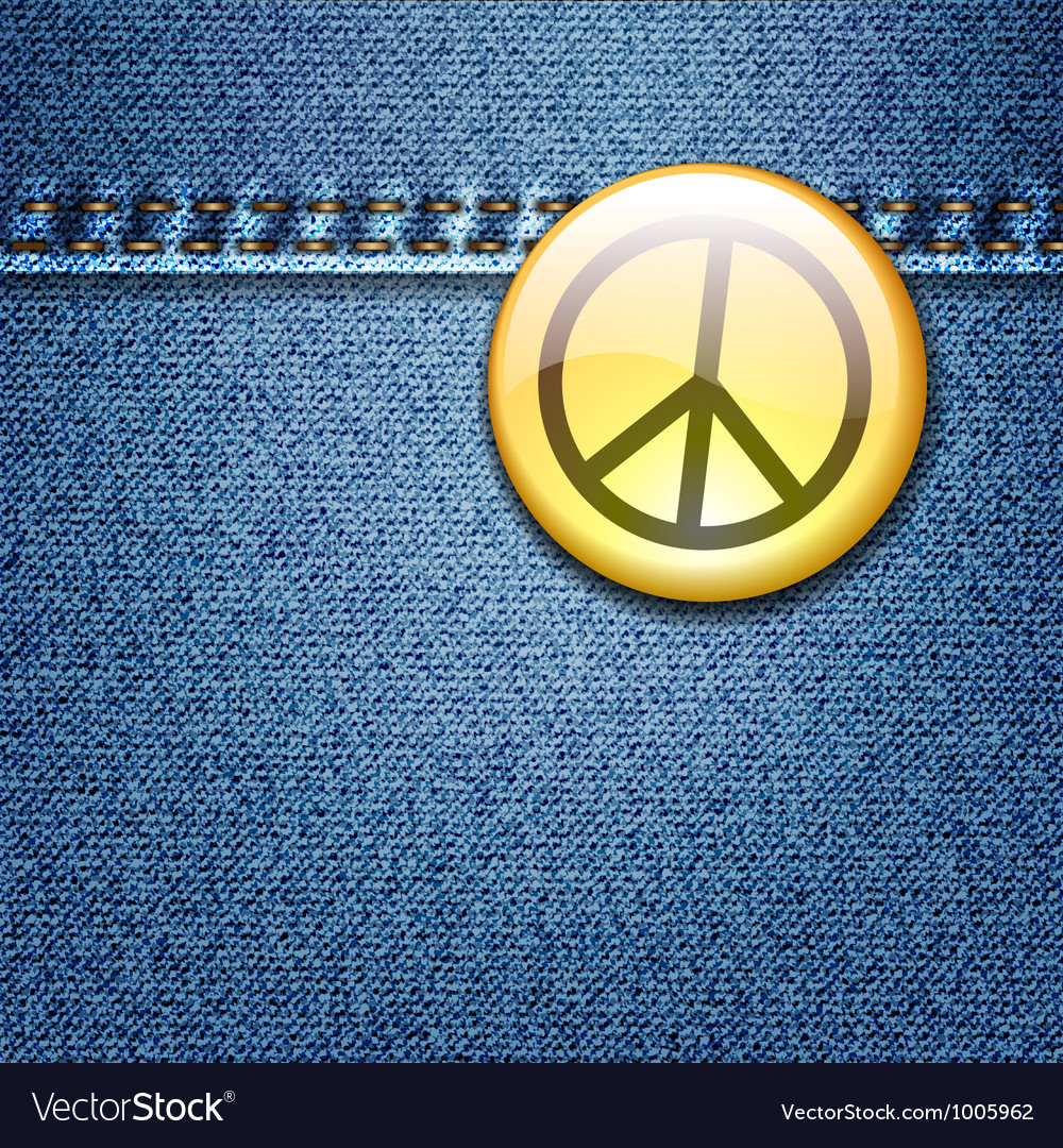 Peace badge on denim vector