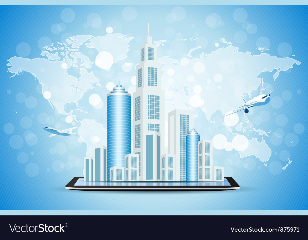 Background with city on tablet computer vector