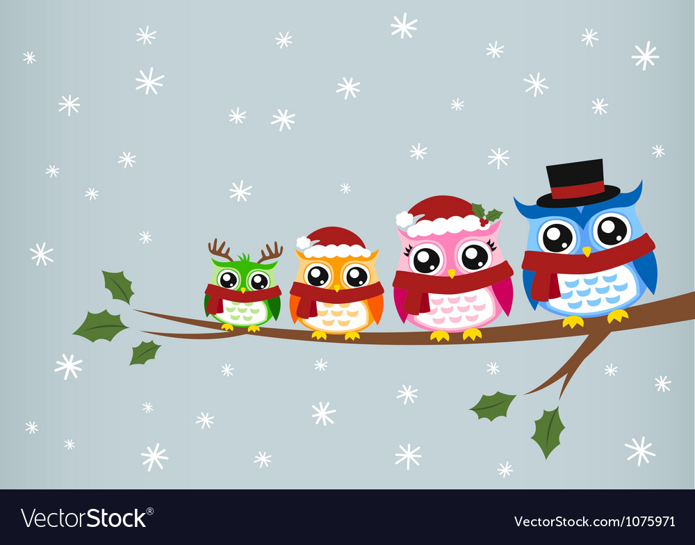 Owl family christmas greeting vector