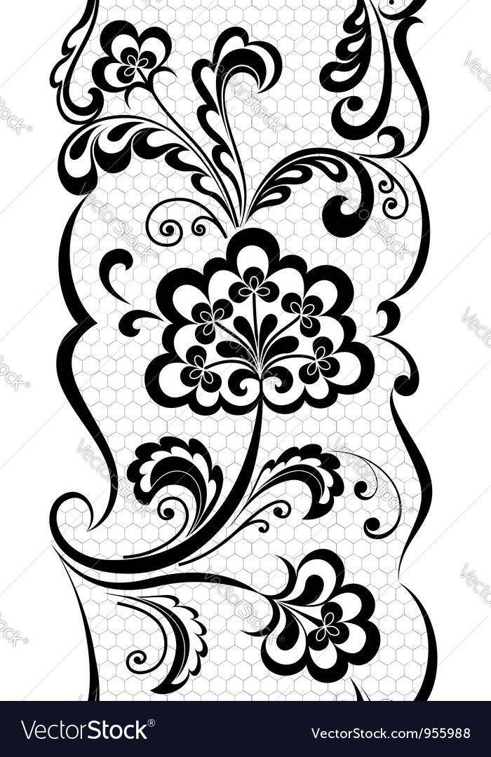 Floral lacy ribbon vector
