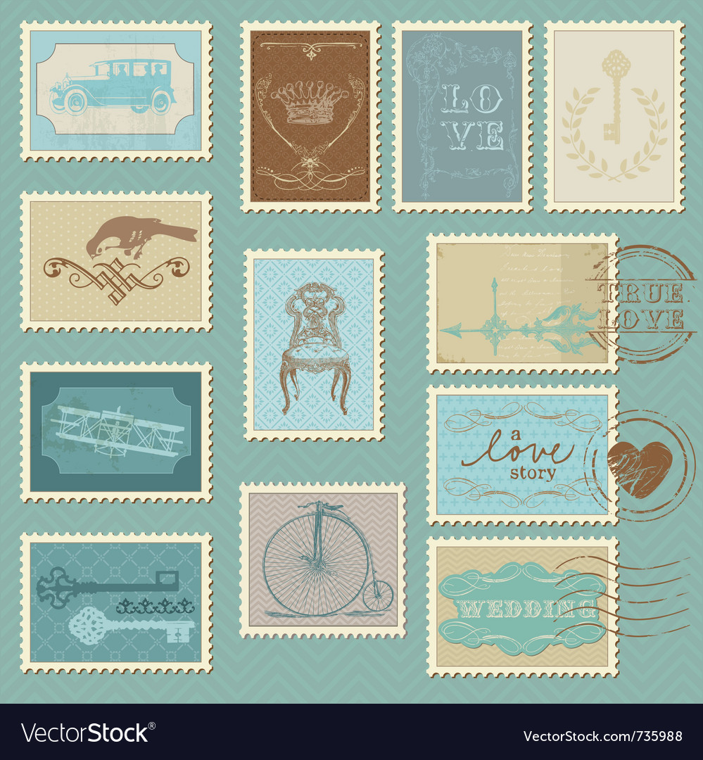 Retro postage stamps  for wedding invitation vector
