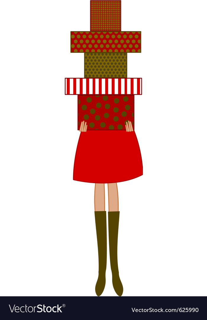 Free woman holding christmas presents vector