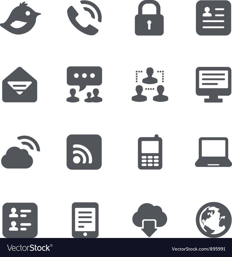Internet communication icon set vector