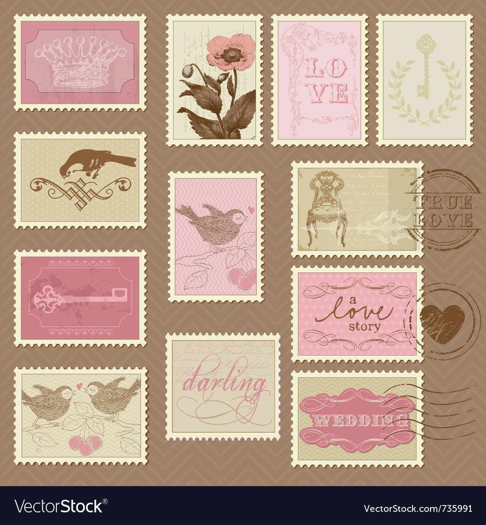 Retro postage stamps  for invite vector