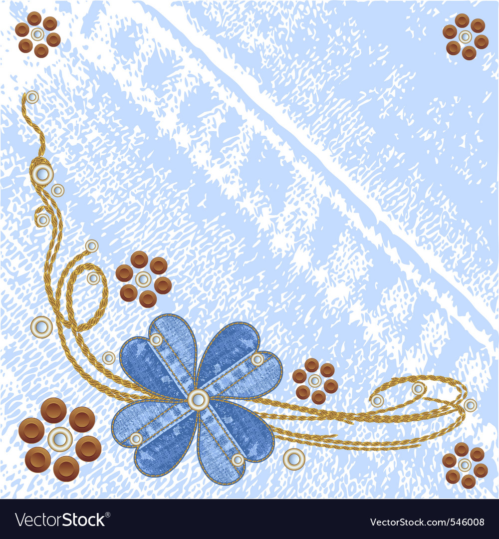 Denim floral jeans background vector