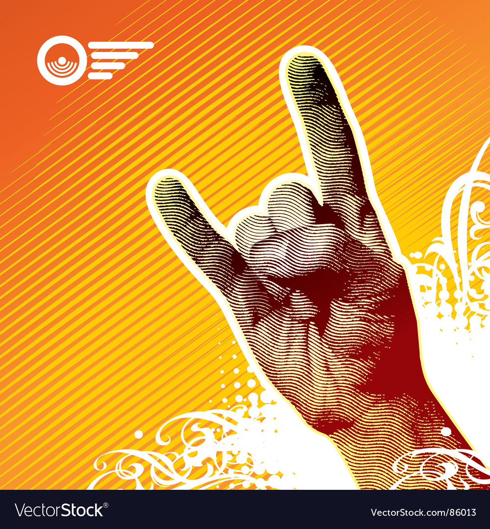Heavy metal hand vector