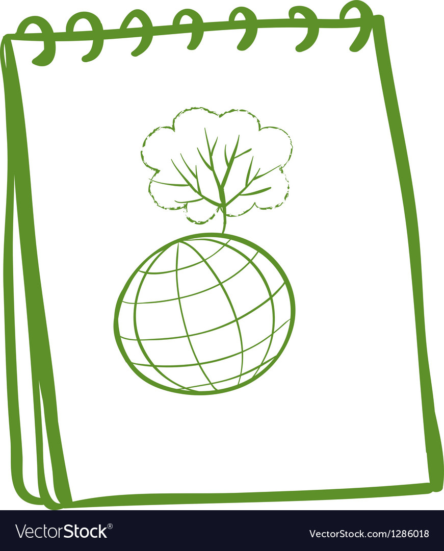 A green notebook with a globe at the front page vector