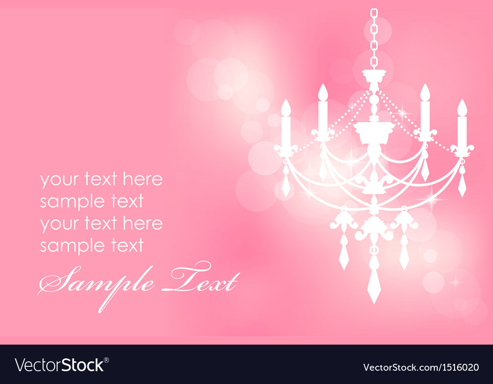 Chandelier on pink postcard vector