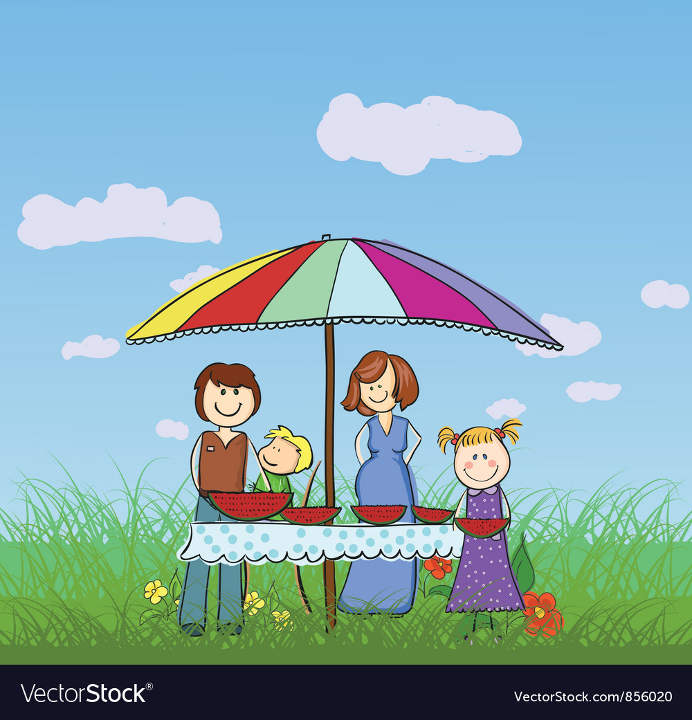 Free family in the park vector