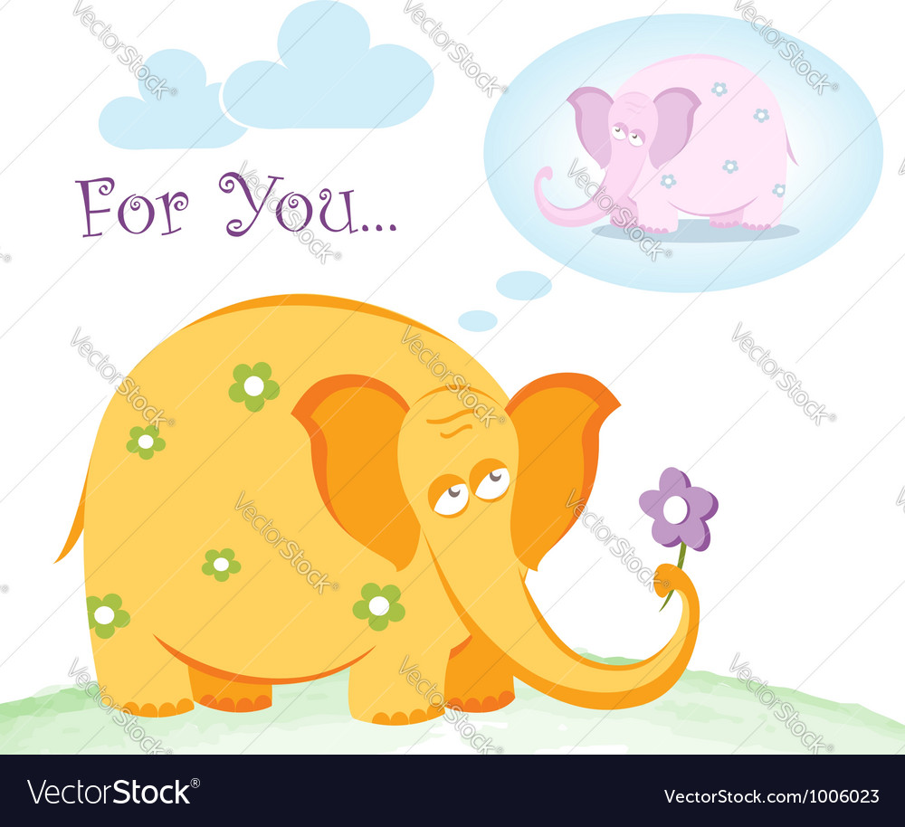 Funny pink elephant in love vector