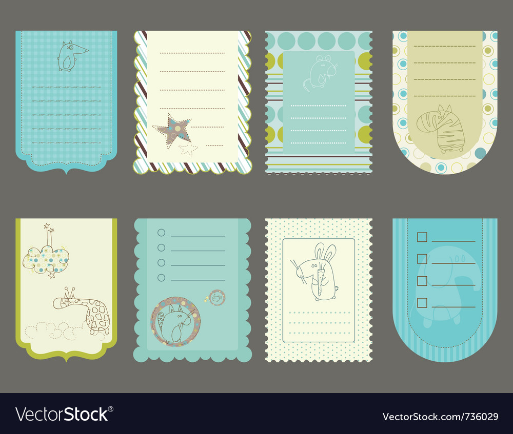 Design elements for baby scrapbook  cute tags wit vector