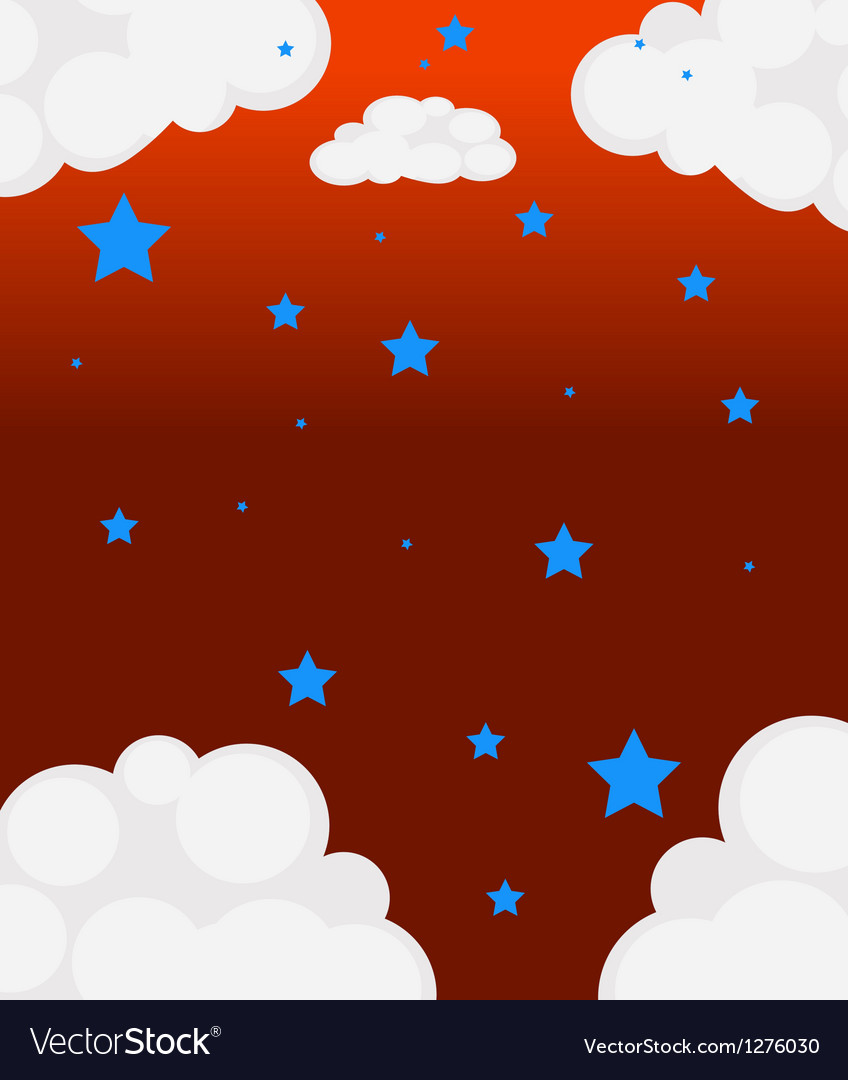 Blue stars and the white clouds vector