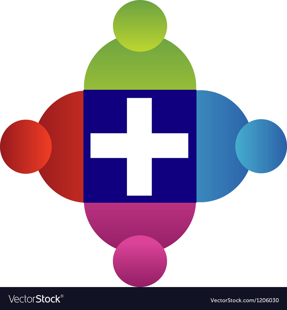 Teamwork with a cross logo vector