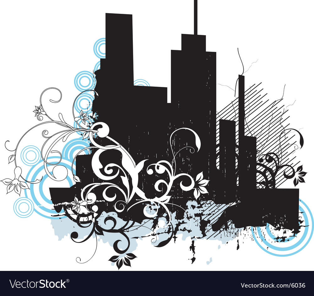 Urban floral grunge city vector