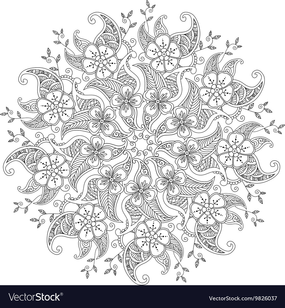 Monochrome Mendie Mandala With Flowers And Leaves Vector By Verock
