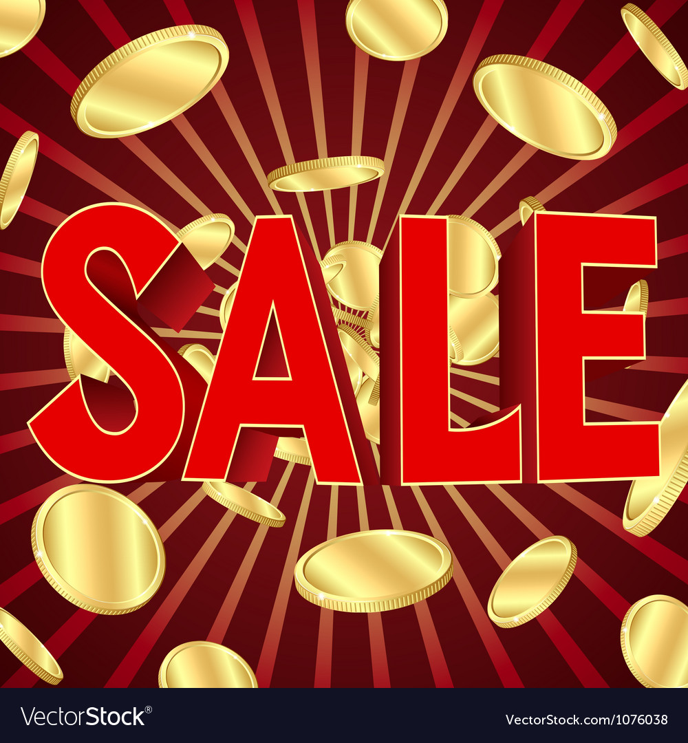 Sale poster with gold coins vector
