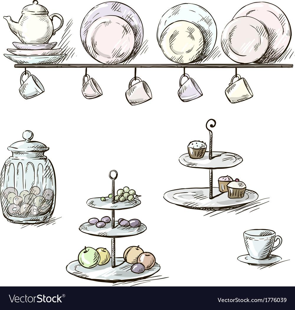 Sketch Of Kitchen Utensils : Hand drawn of kitchen utensils vector by kamenuka - Image #1776039 ...