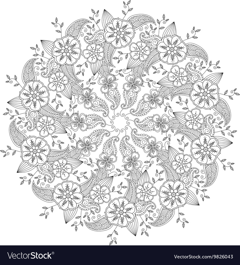 Mendie Mandala With Flowers And Leaves Isolated Vector By Verock