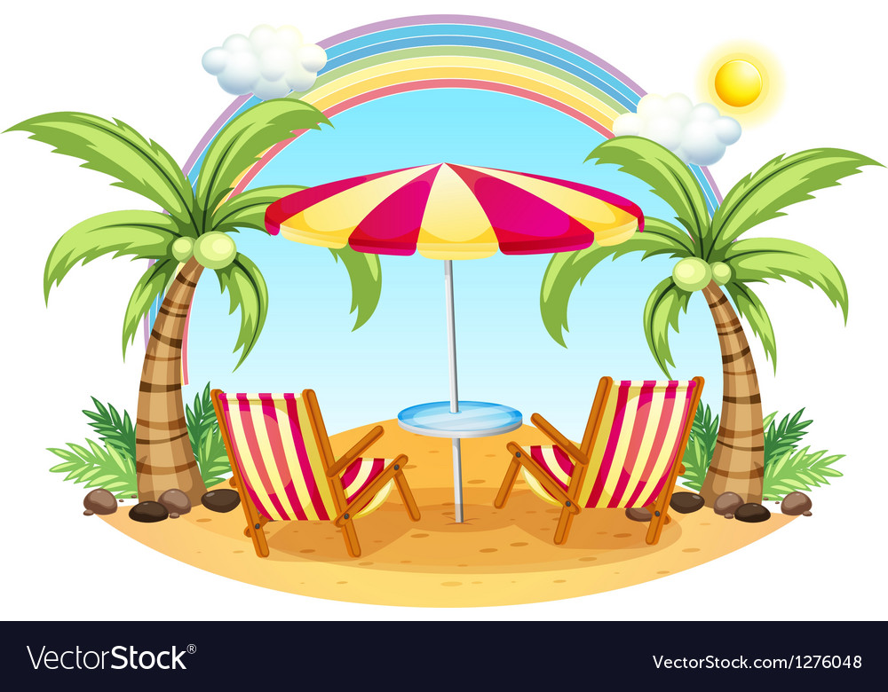 A seashore with a beach umbrella and chairs vector