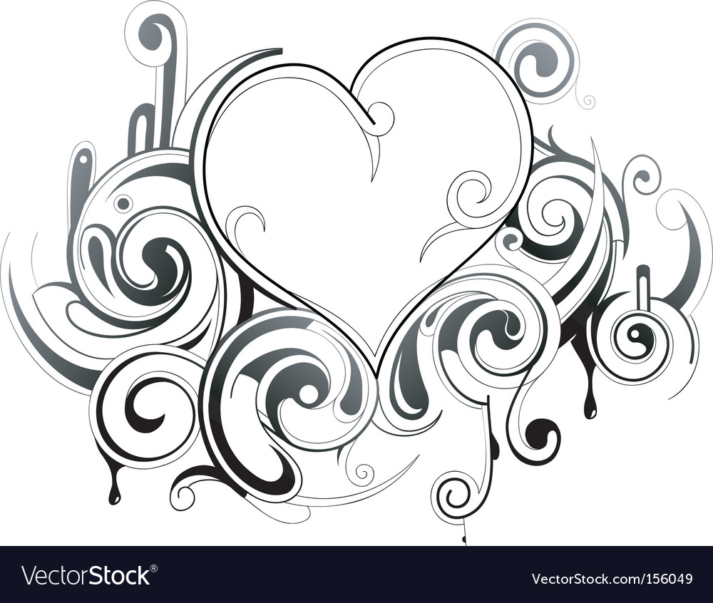 Floral heart tattoo vector