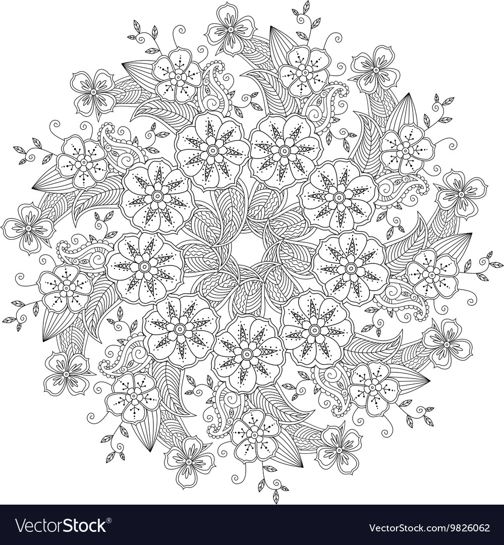 Mendie Mandala With Flowers And Leaves Zenart Vector By