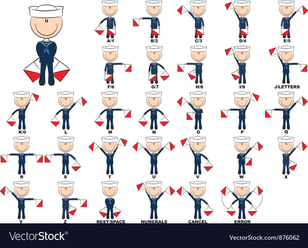 Semaphore flag system vector by dobric - Image #876062 - VectorStock