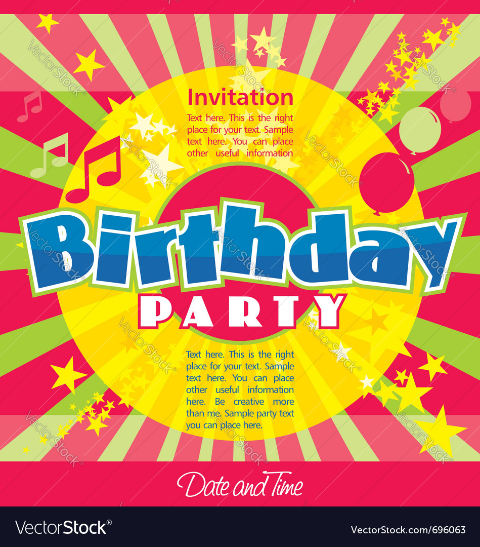 Birthday party invitation vector