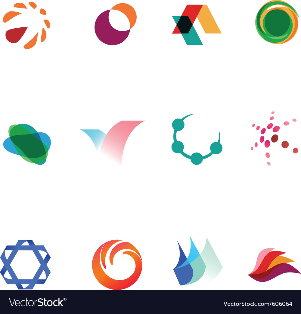 12 colorful symbols set 26 vector