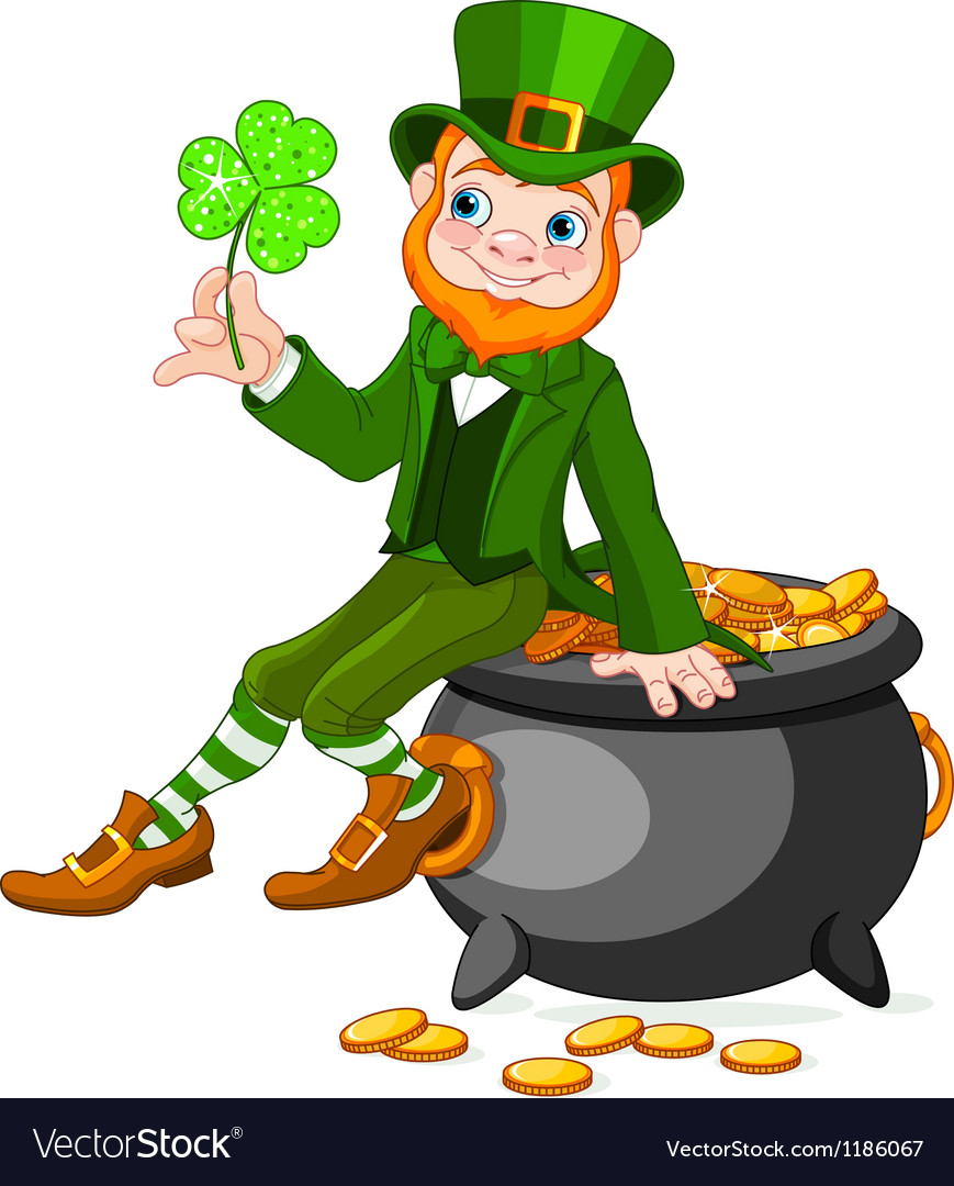 Leprechaun sitting on pot of gold vector