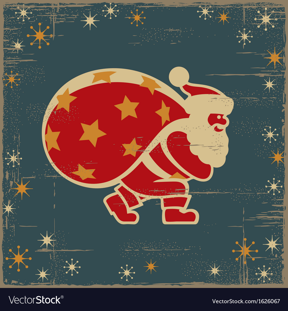 Retro santa claus vector