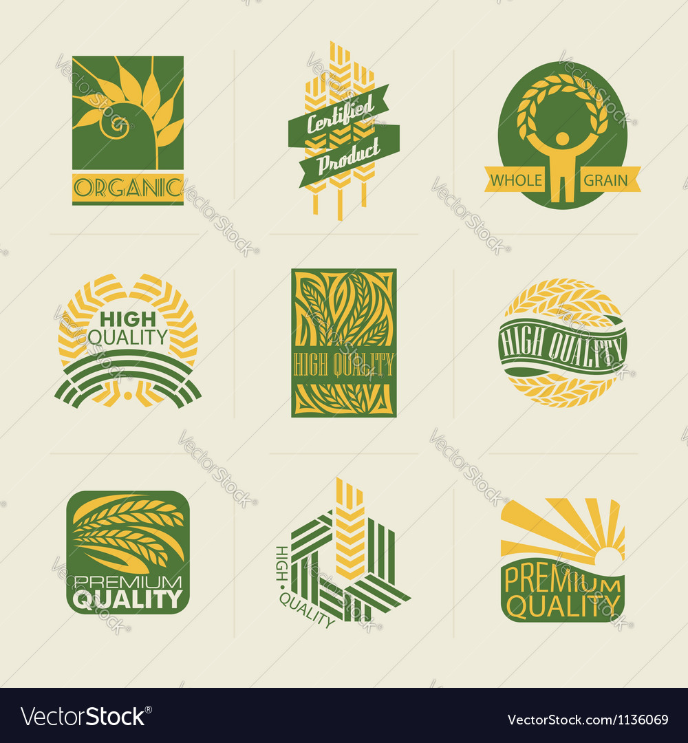 Wheat labels and badges vector