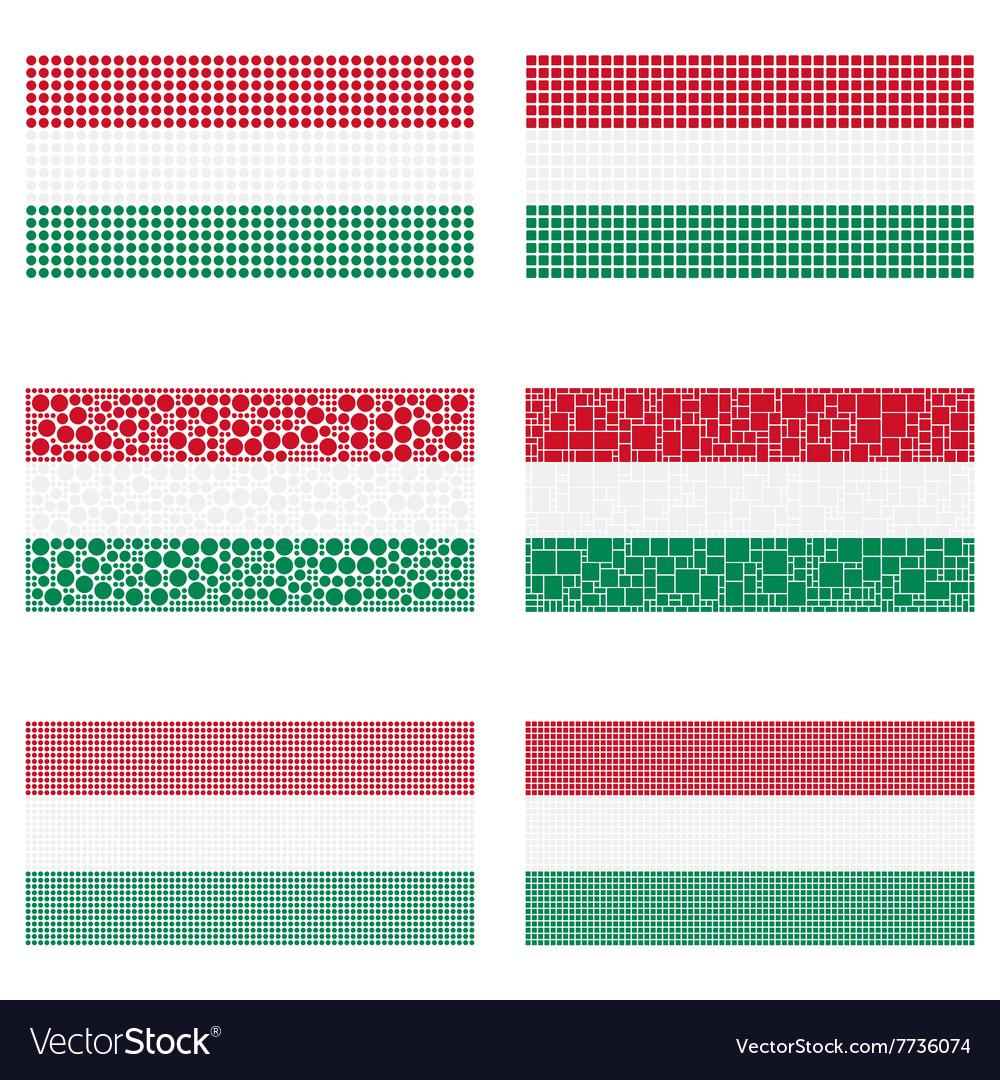 Mosaic hungary flag set