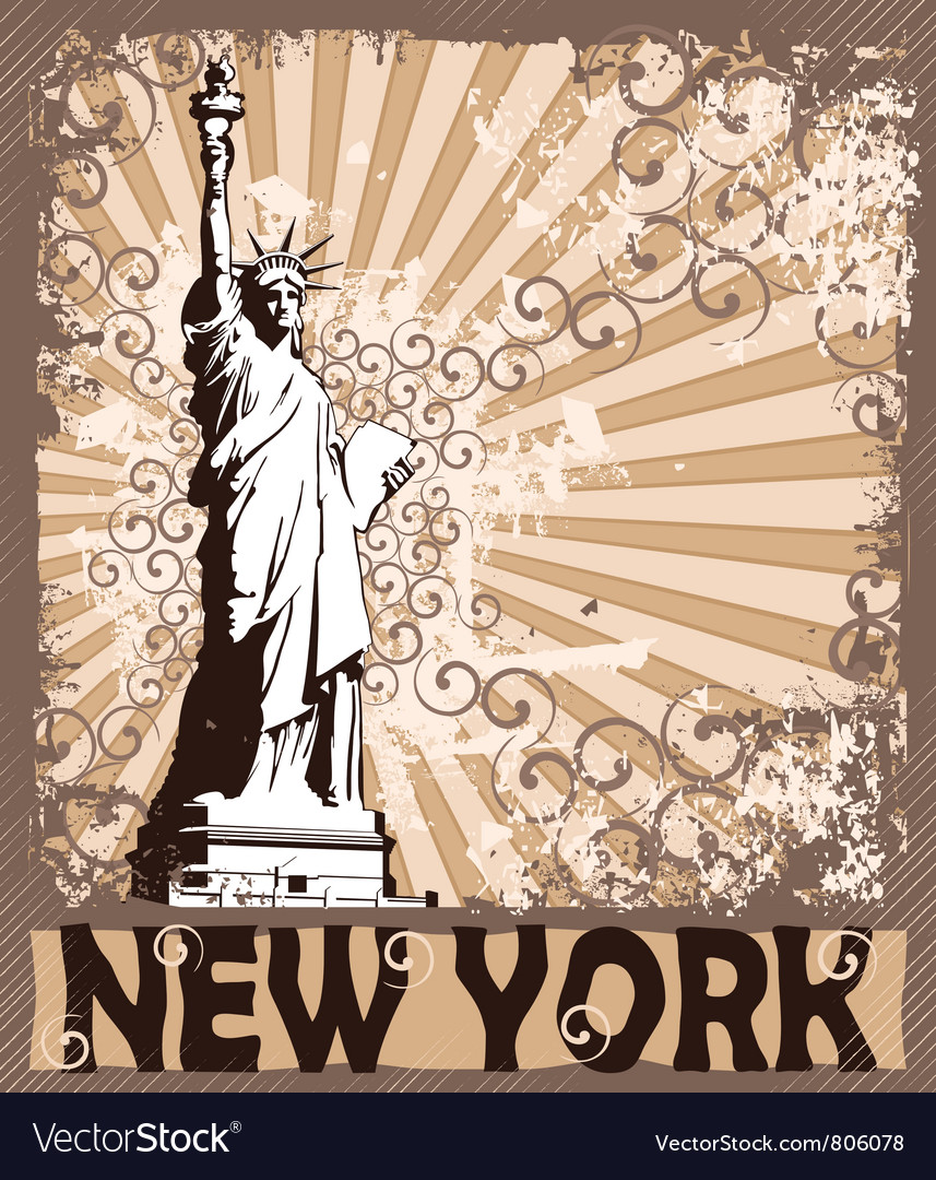 Statue of liberty  symbol of new york city vector