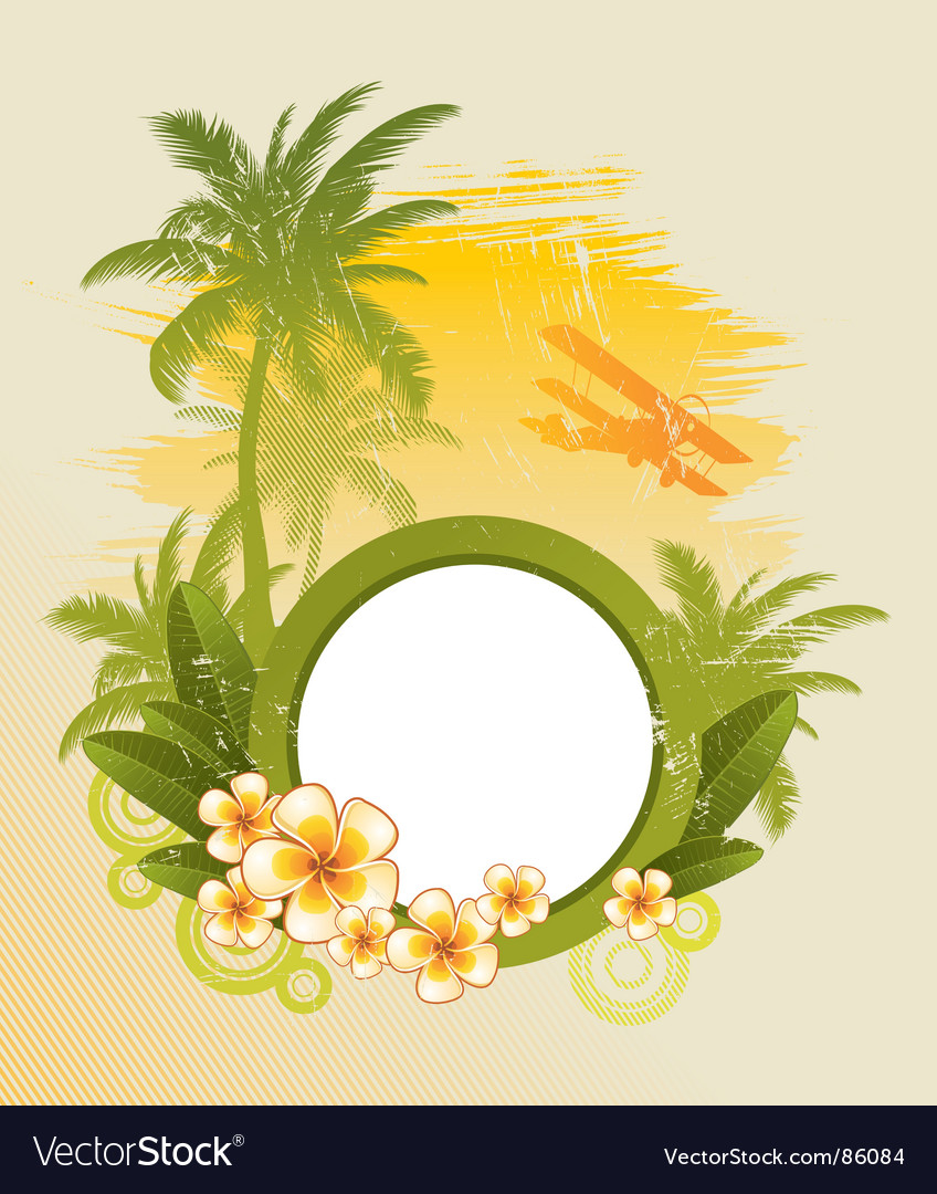 Round frame on tropical theme vector