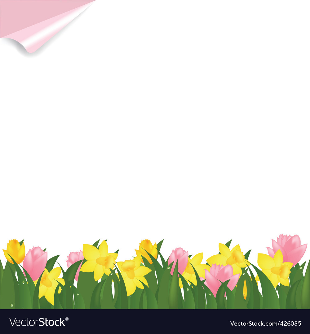 Spring flowers vector by iadamson - Image #426085 - VectorStock Vintage Border Vector