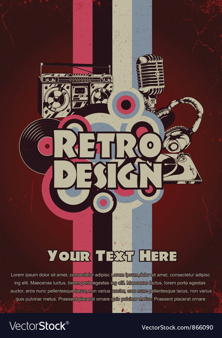 Free retro music poster vector