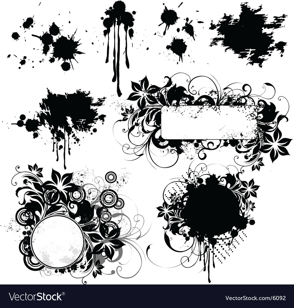Floral grunge frame elements vector